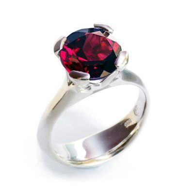 Silver Anemone ring with garnet