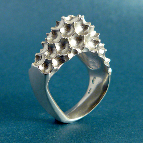 925 silver carved Crustaceous Gloria ring