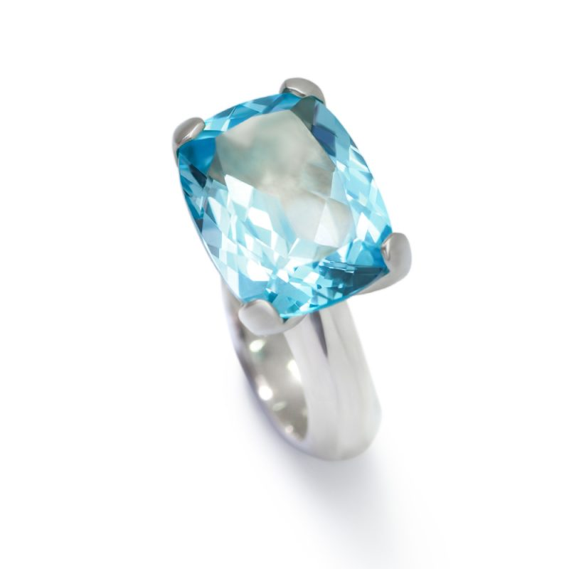 Sterling silver Radiance ring with blue topaz