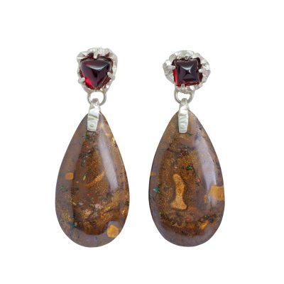 Garnet and Boulder Opal earrings