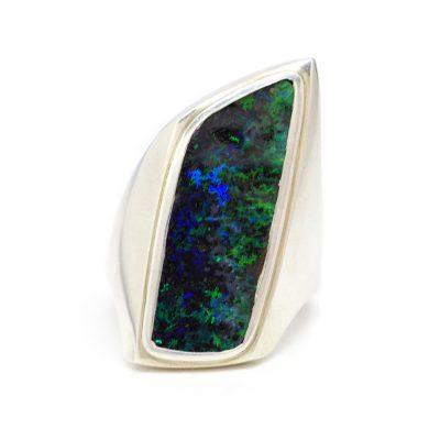 Sterling SIlver Australian Boulder Opal hand-made ring