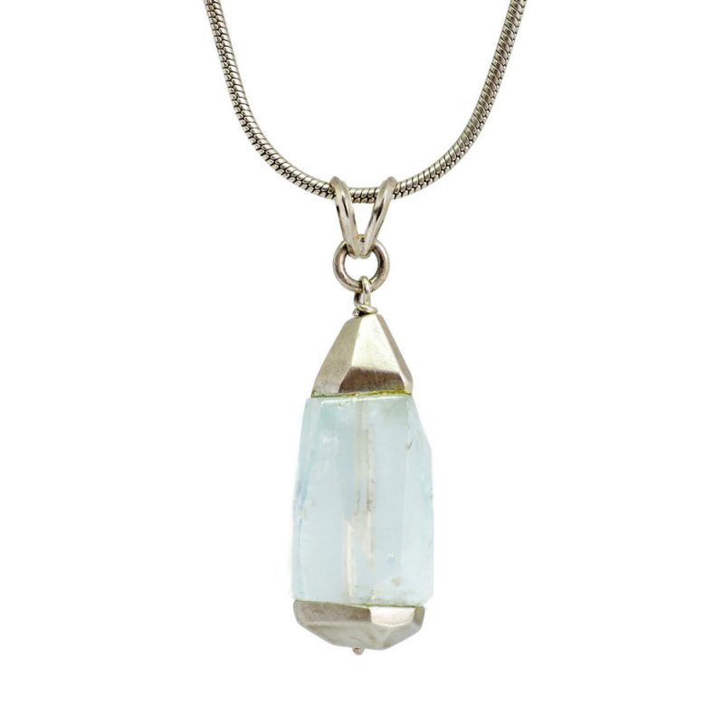 Natural Aquamarine crystal in a silver pendant