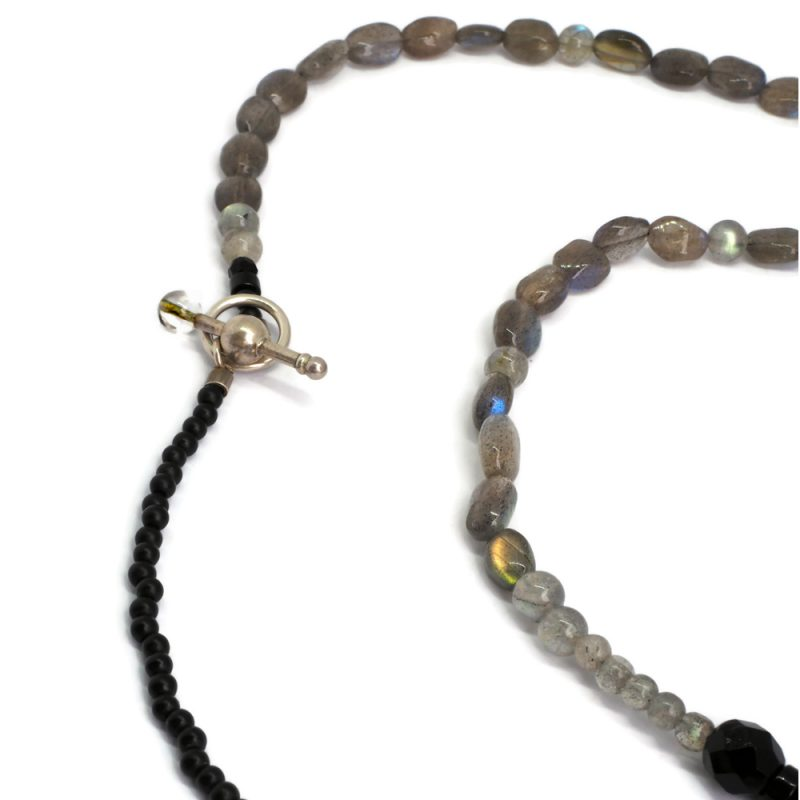 Black Lotus labradorite necklace