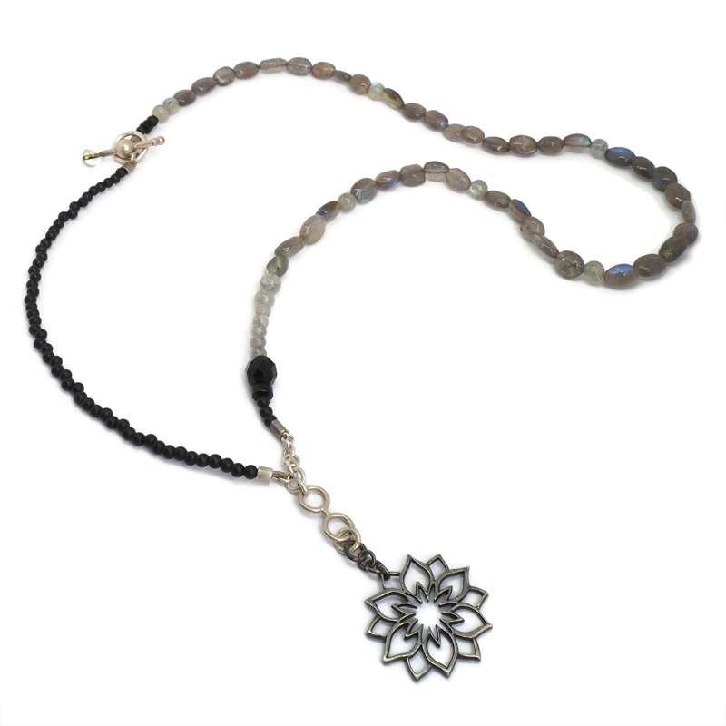 Black Lotus necklace with labradorite and onyx