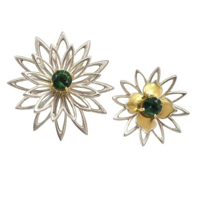Silver and gold tourmaline Flower studs