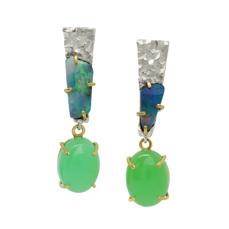 Australian Boulder Opal and Chrysoprase earrings