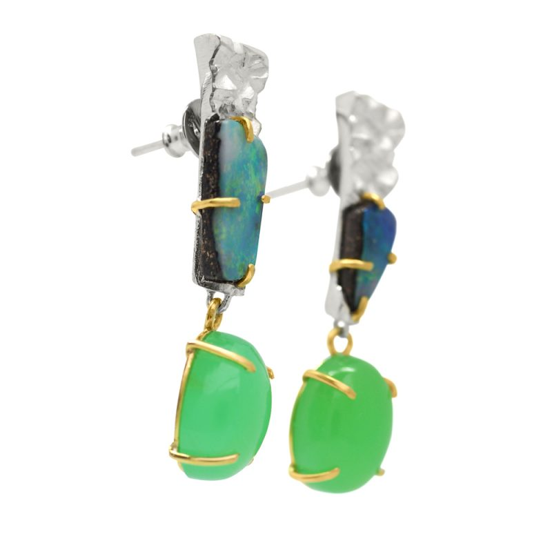 Silver and Gold Opal earrings