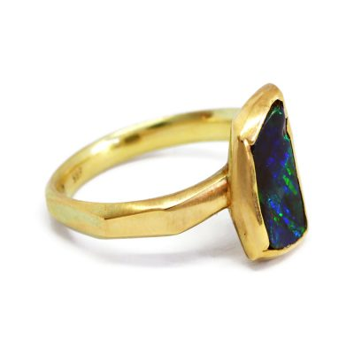 Australian Boulder Opal and gold ring ring