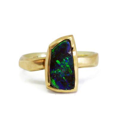Australian Boulder Opal and gold ring