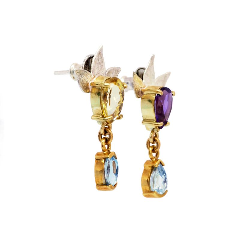Gold amethyst and aqua earrings